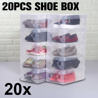 20x Transparent Clear Plastic Shoe Storage Box Foldable Stackable Organize New