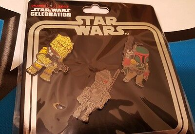 Star Wars Celebration 2017 Pin Set Jyn Bossk Boba Fett IG-88