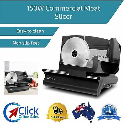 150W Commercial Meat Slicer Stainless Steel Blade Electric Deli Cutter Kitchen