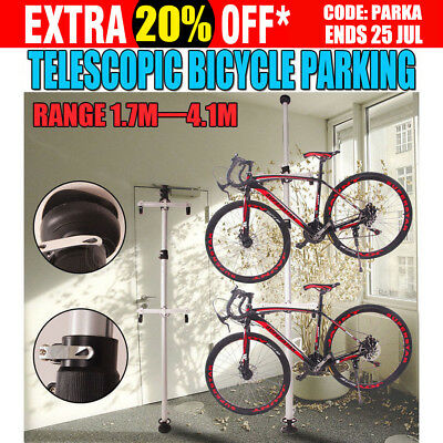 Heavy Duty Aluminum Alloy 2 Bicycle Parking Rack Bike Storage Stand Up To 4.1M