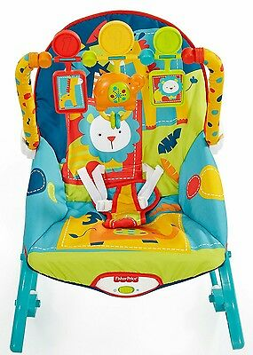 New Fisher Price Infant Baby To Toddler Rocker Bounce Dark Safari Animals Green