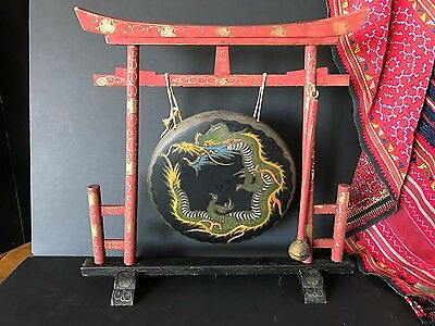 Old Chinese Gong on Hand Painted Wooden Frame …beautiful display piece...