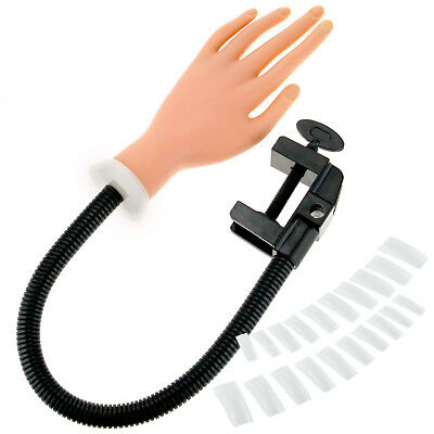 Nail Practice Training Soft Hand w/ Flexible Holder Stand + 100 False Tips Set