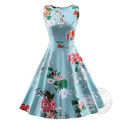 Women 1950s 60s Vintage Floral Style Rockabilly Cocktail Party Swing Dresses