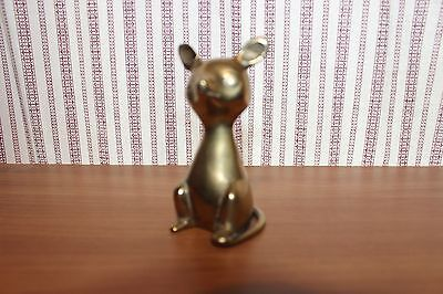 "Vintage 3.25"" Brass Mouse With Curved Tail-Statue/figurine/paperweight"