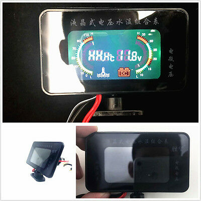 2in1 Car 12V/24V Blue LCD Digital Display Voltmeter Thermometer Water Temp Guage