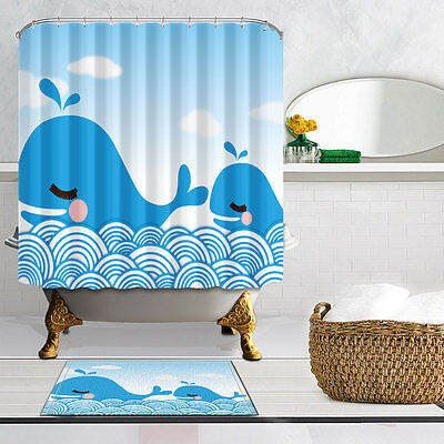 Cartoon cute whale Polyester-Fabric Bathroom Shower Curtain & bath mat 71*71inch