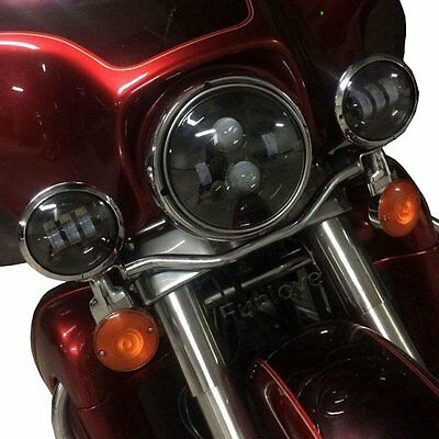 "2x 4-1/2"" Chrome LED Auxiliary Spot Fog Passing Light for Harley Motorcycle"