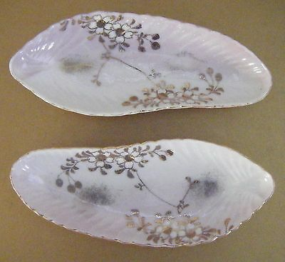Japanese Antique Pair Scalloped Pink Ground Porcelain Dishes