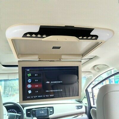"""Car Ceiling Monitor 13"""" Inches , LCD TFT Overhead Flip Down Monitor, Beige"""