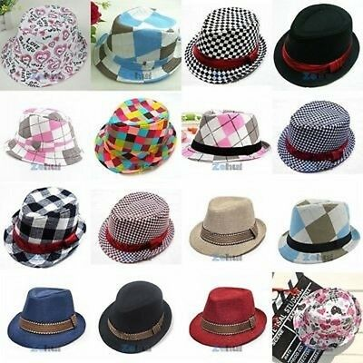 AU Kids Boys Girls Fedora Trilby Hat Costume Gangster Cap Dance Party Jazz Cap