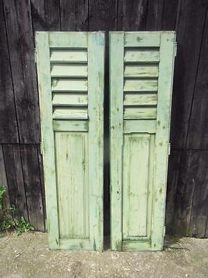 VINTAGE WOODEN FRENCH SHUTTERS 148.5 X 77  cm  LOUVER SHABBY WINDOW  FREE POST