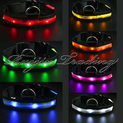 Luminous Safety Collar De Perro LED Mascota Luz De Noche Flash Adjustable Nylon
