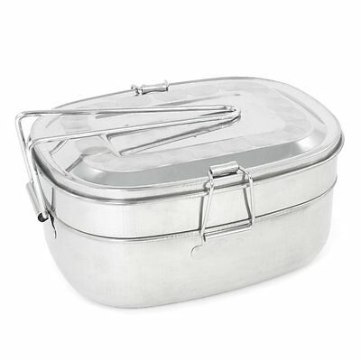 """Detachable Handle 2 Layers Stainless Steel Lunch Box 2.9"""" Height  BF"""