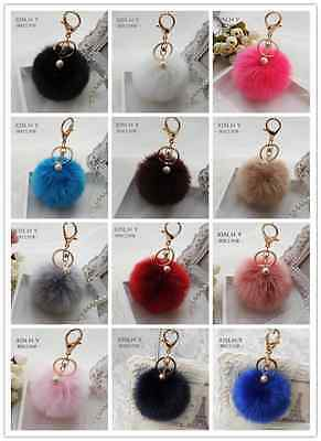 Handbag Charm Key Ring Pendant Rabbit Fur Ball PomPom Cell Phone Car Keychain