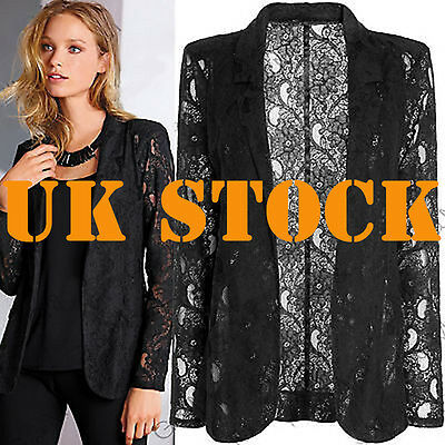 Ladies Womens Work Lace One Button Slim Suit Blazer Coat Jacket Tops Size UK8-18