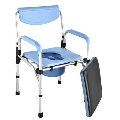 Folding Portable Commode Chair Mobility Disability Living Toilet Aid Adjustbale