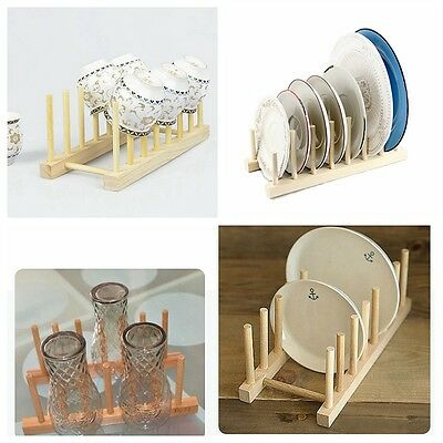 Wooden Plate Rack 7 Dishes Pans  Wood Stand  Pots Cups Plates Lid Display Holder
