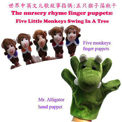 6pcs/set The nursery rhyme finger puppet Five little monkeys swing in a tree toy