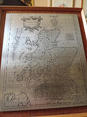 map of scotland on stainless steel plate 1950