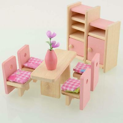 Wooden Dinning Dolls House Furniture Room Dollhouse Miniature For Kids Toys GL