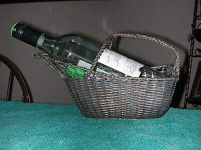Vtg French Silverplate Wine Caddy Woven Wire Basket CP 10 France Nice Patina