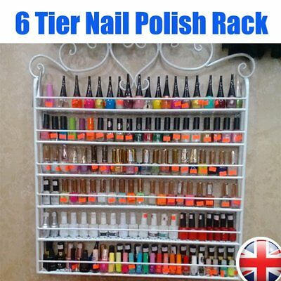 White Metal Nail Polish Organizer Rack Display Stand Mountable 6 Tier Storage UK