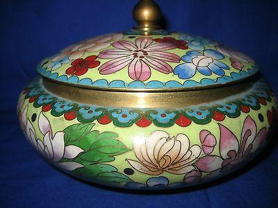 Chinese / Japanese Cloisonne Enamel Floral  Pot / Box with Lid