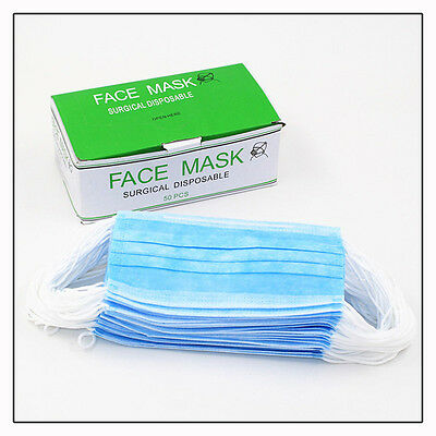 Disposable Surgical Face  Ear Loop Dust Salon Medical Mouth Flu Mask 1-500pcs UK