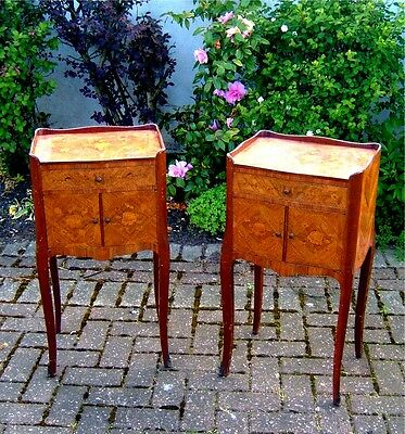 Beautiful pair of Edwardian French Tulipwood & marquetry bedside cabinets C1900