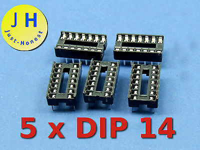 Stk. 5 x DIP 14 IC SOCKEL / SOCKET #A286