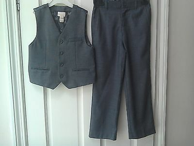 Boys Smart Trousers & Waistcoat Outfit, 6-7 Years By Monsoon, Grey, VGC, Formal