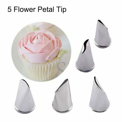 5 Pcs/Set Flower Cream Petal Icing Piping Nozzles Cake Decorating Tips Pastry