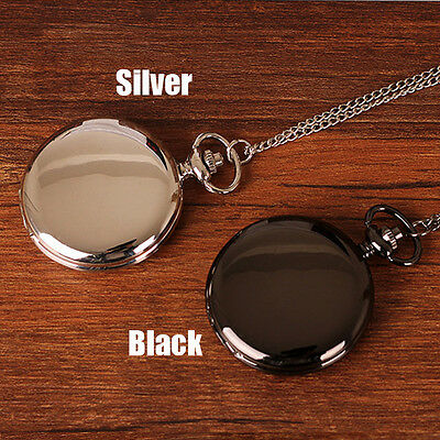 Antique Style Silver/Black Smooth Face Quartz Pocket Watch With Long Chain Chic