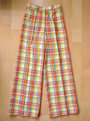 MINTY Vtg 60s 70s Mod Orange Yellow Plaid SUPER WIDE Leg Cuffed Pants 26W