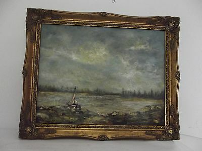 antique french painting oil on panel framed signed marine boat art XXth vintage