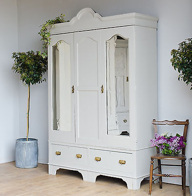 Large Antique Shabby Chic Double Wardrobe Armoire Drawers Painted Farrow & Ball