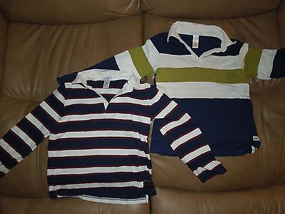 2 Janie and Jack Boys Long Sleeve Rugby Shirts Lot, Size 7, Cotton, EUC!