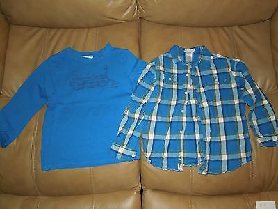 Janie and Jack Boys Long Sleeve Train Shirt + Matching Flannel Lot, Size 7, EUC!
