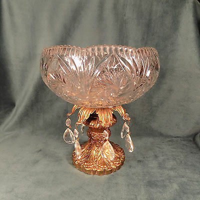 Antique Crystal Dish With Crystal Prisims On Pedestal