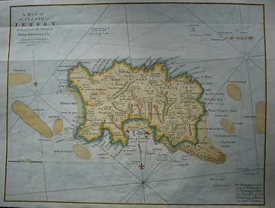 Jersey by J Cary 1805, super original map, quite large, hand coloured.