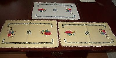 Vintage Table Mats  ~ Children with Hoop ~Three
