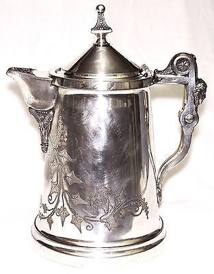 c1870 Ren-Egyptian Rev silverplate ice water pitcher, Rogers,1854-68 patent,ivy