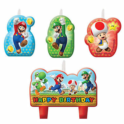 Super Mario Birthday Party Cake Candles Pack Set Of 4 Luigi Toad Yoshi