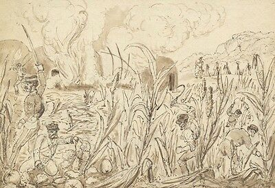 Raymond-Barker Family - Scythes, Original 19th Century Pen and Ink Drawing