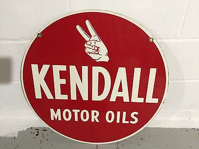 "Vintage Kendall Motor Oil Sign,Double Sided,1950's-60's,24"",curb Sign Gas Oil"