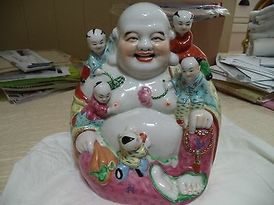 Famille Rose Buddha with Children Statue Figure Midcentury China