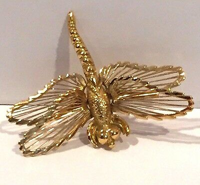 Rare Vintage Estate Monet Gold Wire Winged Dragonfly Insect Brooch Pin