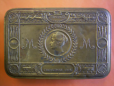 Original WWI Queen Mary Christmas Tin Issued To The Troops For Christams 1914