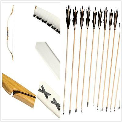 Archery Set Traditional Pigskin Longbow recurve Bow 20lb-110lb +12 wooden arrow
